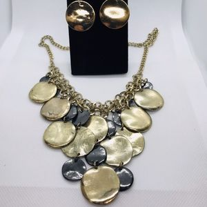 Tri Color Coin Metal Necklace Earring Set. NWOT